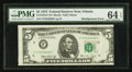 Error Notes:Miscellaneous Errors, Fr. 1973-F $5 1974 Federal Reserve Note. PMG Choice Uncirculated 64 EPQ.. ...