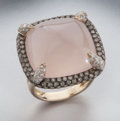 Luxury Accessories:Accessories, Dallas Auction Jewelry . Benefitting the Dallas Museum of Art. 18Kgold, diamond and rose quartz ring featuring a centra...