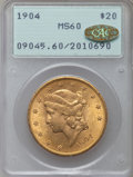 Liberty Double Eagles: , 1904 $20 MS60 PCGS. Gold CAC. PCGS Population (3567/162538). NGCCensus: (2926/213707). Mintage: 6,256,797. Numismedia Wsl....