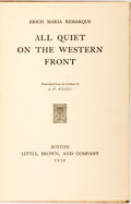 Books:Literature 1900-up, Erich Maria Remarque. All Quiet on the Western Front. Boston: Little, Brown, 1929. First edition, first printing. Pu...