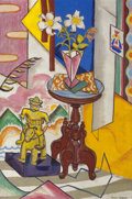 Texas:Early Texas Art - Modernists, ETHEL SPEARS (American, 1903-1974). Still Life with Pink Vaseand Figurine of Rider on Horseback. Oil on canvas. 30 x 20...