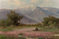 ROBERT WILLIAM WOOD (American, 1889-1979) Desert Verbena and Cacti Oil on canvas 24 x 36 inches (