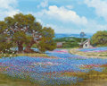 Texas:Early Texas Art - Regionalists, WILLIAM A. SLAUGHTER (American, 1923-2003). Old Stone Farmhouseand Windmill in a Bluebonnet Field. Oil on canvas. 16 x ...