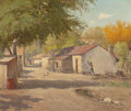 Texas:Early Texas Art - Regionalists, PORFIRIO SALINAS (American, 1910-1973). Untitled (RuralSettlement), mid-20th century. Oil on canvas. 25 x 30 inches(63...