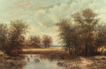 Texas:Early Texas Art - Regionalists, WILLIAM ROBERT THRASHER (American, 1908-1997). Sunlit Clearingwith a Quiet Pond. Oil on canvas. 26 x 40 inches (66.0 x ...