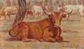 Texas:Early Texas Art - Regionalists, HAROLD DOW BUGBEE (American, 1900-1963). Longhorn. Oil oncanvasboard. 5 x 8 inches (12.7 x 20.3 cm). Signed lower right...