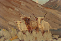 HAROLD DOW BUGBEE (American, 1900-1963) Texas Longhorns Oil on canvas laid on board 7 x 10 inches