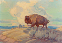 HAROLD DOW BUGBEE (American, 1900-1963) Last of the Herd, 1956 Oil on canvasboard 10 x 14 inches