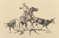 Works on Paper, HAROLD DOW BUGBEE (American, 1900-1963). Working Cattle. Pen and ink on paper. 8-3/8 x 12-3/4 inches (21.3 x 32.4 cm) (s...