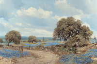 WILLIAM A. SLAUGHTER (American, 1923-2003) Bluebonnet Homestead Oil on canvas 24 x 36 inches (61