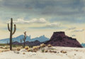 "Texas:Early Texas Art - Drawings & Prints, GERALD WILLIAMSON ""JERRY"" BYWATERS (American, 1906-1989).Western Arizona, circa 1961. Watercolor on paper. 9-1/4 x13-3..."