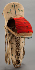 American Indian Art:Beadwork and Quillwork, A PAIUTE BEADED HIDE BABY CARRIER. c. 1900...