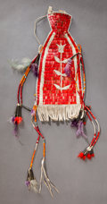 American Indian Art:Beadwork and Quillwork, A SIOUX QUILLED AND BEADED HIDE NECK TIE. c. 1890...
