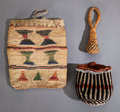 American Indian Art:Baskets, TWO PLATEAU CHILD'S BAGS AND A NORTHERN CALIFORNIA RATTLE...(Total: 3 )