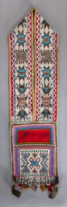 American Indian Art:Beadwork and Quillwork, A CHIPPEWA CHILD'S LOOM-BEADED BANDOLIER BAG. c. 1880...