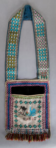 American Indian Art:Beadwork and Quillwork, A CHIPPEWA CHILD'S PICTORIAL LOOM-BEADED BANDOLIER BAG. c. 1880...