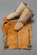 American Indian Art:Jewelry and Silverwork, A PAIR OF NAVAJO HIDE LEGGINGS / MOCCASINS. c. 1930... (Total: 4 )