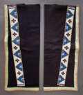 American Indian Art:Beadwork and Quillwork, A PAIR OF SIOUX MAN'S BEADED CLOTH LEGGINGS. c. 1900...