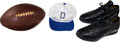 Football Collectibles:Others, 1983 Tom Landry Personally Worn Dallas Cowboys Cap, Shoes and 1950's Game Ball....