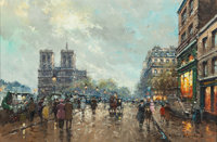 ANTOINE BLANCHARD (French, 1910-1988) Les Bouquinistes, Notre Dame, Quai St. Michel Oil on canvas