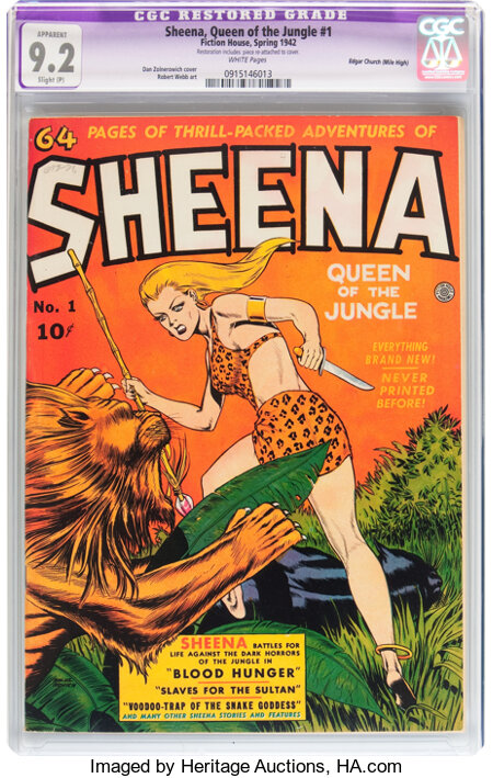 Sheena, Queen of the Jungle #1 Mile High pedigree (Fiction House, 1942) CGC Apparent NM- 9.2 Slight (P) White pages....