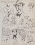 "Original Comic Art:Sketches, Robert Crumb ""April 19, 1962"" Double-Sided Sketchbook Page Original Art (1962)...."