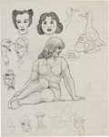 "Original Comic Art:Sketches, Robert Crumb ""Where's Manlove Bradley?"" Sketchbook Page Original Art (c. 1962)...."
