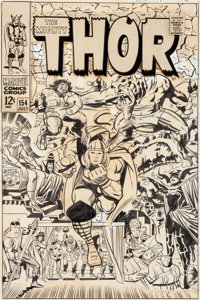 Jack Kirby and Vince Colletta Thor #154 Cover Original Art (Marvel, 1968)