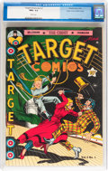 Golden Age (1938-1955):Adventure, Target Comics V3#1 Mile High pedigree (Novelty Press, 1942) CGC NM+ 9.6 White pages....