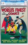 Golden Age (1938-1955):Superhero, World's Finest Comics #3 (DC, 1941) CGC FN- 5.5 Off-white to white pages....