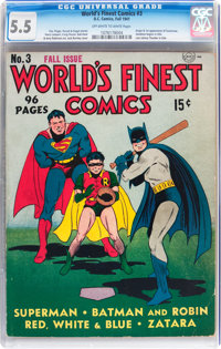 World's Finest Comics #3 (DC, 1941) CGC FN- 5.5 Off-white to white pages
