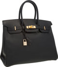Luxury Accessories:Accessories, Hermes 35cm Black Ardennes Leather Birkin Bag with Gold Hardware.Benefitting the Dallas Museum of Art. Excellent Conditio...