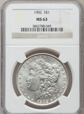 Morgan Dollars: , 1902 $1 MS63 NGC. NGC Census: (1189/3544). PCGS Population(1708/4639). Mintage: 7,994,777. Numismedia Wsl. Price for probl...