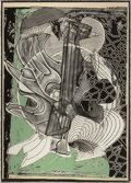 Prints:Contemporary, FRANK STELLA (American, b. 1936). The Fossil Whale (fromMoby Dick Engravings), 1991. Etching and aquatint withcarb...