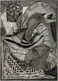 Prints:Contemporary, FRANK STELLA (American, b. 1936). The Cabin, Ahab andStarbuck (from Moby Dick engravings), 1991. Etching,aquatint ...