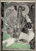 Prints:Contemporary, FRANK STELLA (American, b. 1936). Fossil Whale (from MobyDick engravings), 1991. Etching and aquatint with carborun...