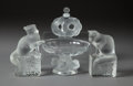 Glass, A PAIR OF LALIQUE GLASS CATS, A LALIQUE NOGENT BOWL AND A LALIQUE PERFUME, post 1945. Marks to cats: Lalique, ... (Total: 4 Items)