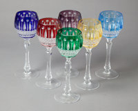 A SET OF SIX FABERGE WINE GLASSES IN ORIGINAL BOX, 20th century Marks: FABERGÉ 8-1/4 inches high (21