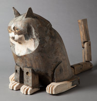 LOUIS KRUGER (American, b. 1924) Seated Cat Painted wood 17 inches (43.2 cm) high  FROM THE
