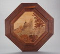 Decorative Arts, French:Other , A FRENCH MARQUETRY OCTAGONAL PLAQUE AND FRAME, Émile Gallé, Nancy,France, 20th century. Marks: Gallé. 19-1/2 inches dia...