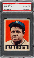Baseball Cards:Singles (1940-1949), 1948 Leaf Babe Ruth #3 PSA EX-MT 6....