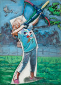 LARRY RIVERS (American, 1925-2002) The Young Archer, 1995 Oil on canvas mounted on sculpted foamboar