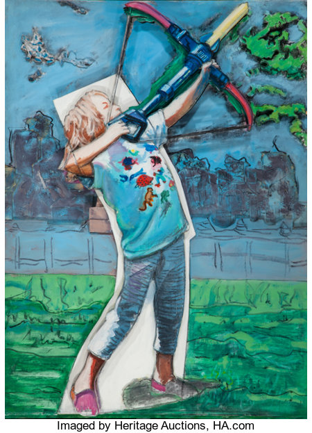 LARRY RIVERS (American, 1925-2002)The Young Archer, 1995Oil on canvas mounted on sculpted foamboard56-1/2 x 45 x 5...
