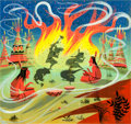 Animation Art:Concept Art, Mary Blair Peter Pan Peter Dancing with Tiger Lily Concept Painting (Walt Disney, 1953)....