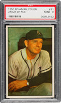 Baseball Cards:Singles (1950-1959), 1953 Bowman Color Jimmy Dykes #31 PSA Mint 9 - None Higher. ...