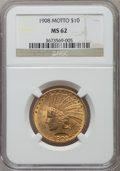 Indian Eagles: , 1908 $10 Motto MS62 NGC. NGC Census: (1492/738). PCGS Population(1510/1112). Mintage: 341,300. Numismedia Wsl. Price for p...