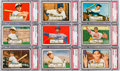 Baseball Cards:Lots, 1952 Topps Baseball Low Numbers PSA NM 7 Collection (9) - AllHorizontal Poses. ...