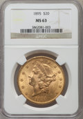 Liberty Double Eagles: , 1895 $20 MS63 NGC. NGC Census: (3385/520). PCGS Population(1748/256). Mintage: 1,114,656. Numismedia Wsl. Price for proble...