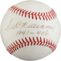 "Baseball Collectibles:Balls, 1990's Ted Williams Single Signed Baseball With ""1941- 406"" Inscription. ..."
