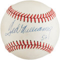 """Baseball Collectibles:Balls, 1990's Ted Williams Single Signed Baseball With """"521"""" Home Run Total. ..."""